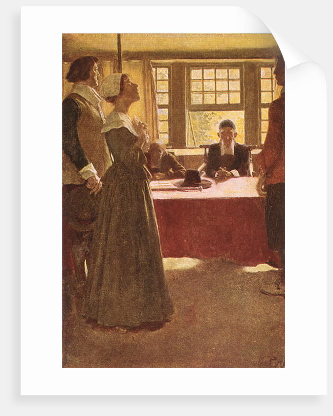 Mary Dyer Brought Before Governor Endicott by Howard Pyle