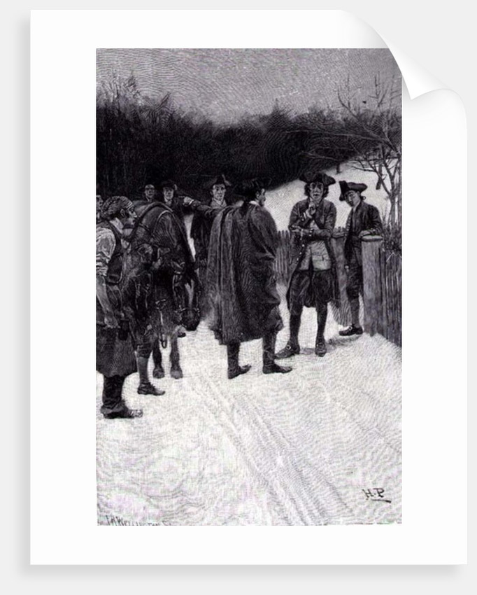 Paul Revere Bringing News to Sullivan, engraved by F.H. Wellington by Howard Pyle