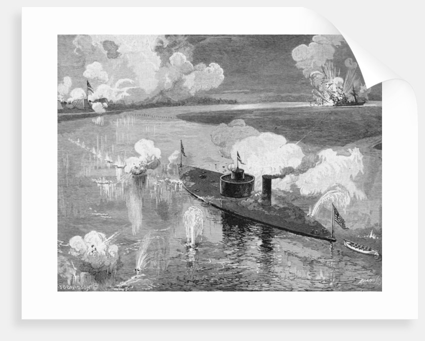 The monitor 'Montauk' destroying the Confederate privateer 'Nashville' near Fort McAllister, Ogeechee River, Georgia by Julian Oliver Davidson