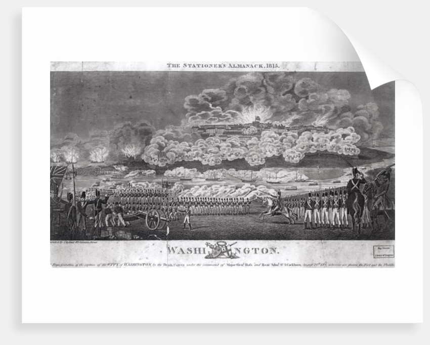Representation of the Capture of the City of Washington by the British forces, August 24th 1814 by American School