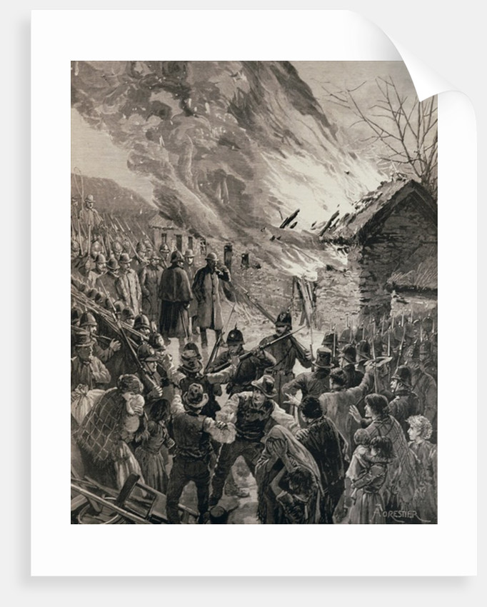 The Rent War in Ireland: Burning the Houses of Evicted Tenants at Glenbeigh, County Derry by Amedee Forestier