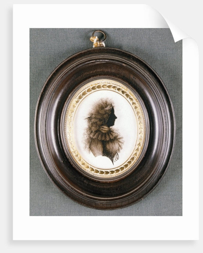 Silhouette of a lady, painted on convex glass, by Mrs Isabella Beetham by English School