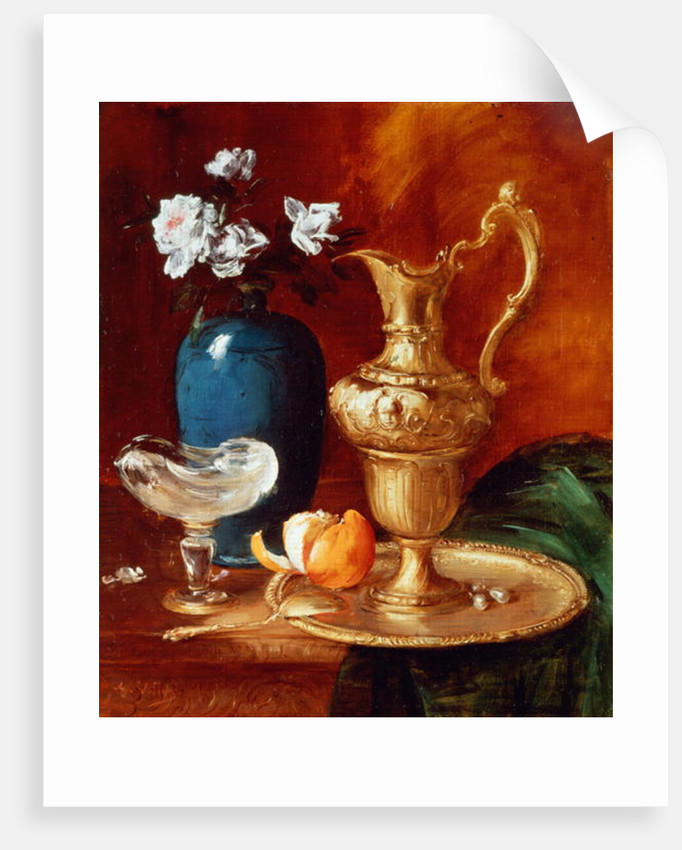 Still Life Of A Gilt Ewer Vase Of Flowers And A Facon De Venise