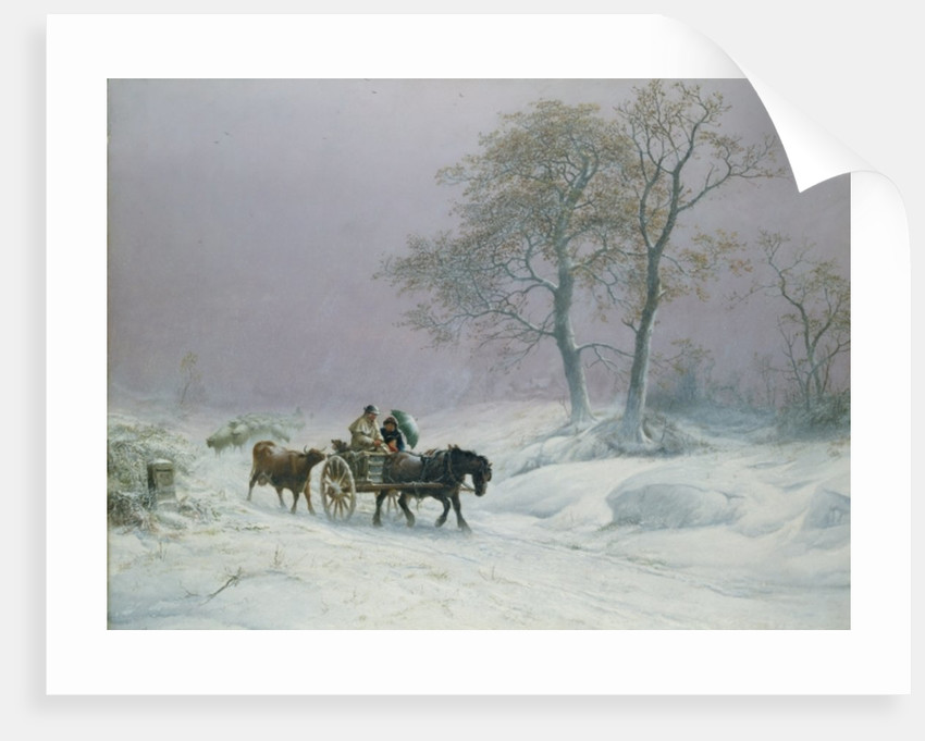 The wintry road to market by Thomas Sidney Cooper