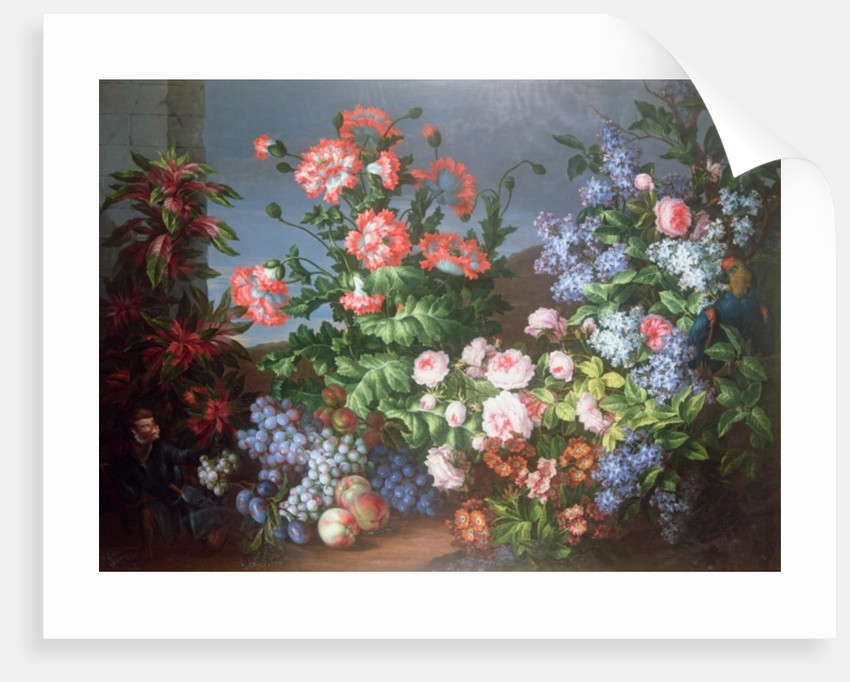 Flowers, fruit with a Monkey and a Parrot by Jean-Baptiste Monnoyer
