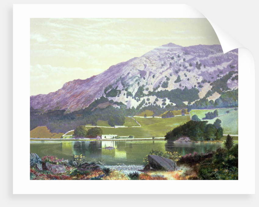 Nab Scar from the South Side of Rydal Water - Heather in Bloom, September by John Atkinson Grimshaw