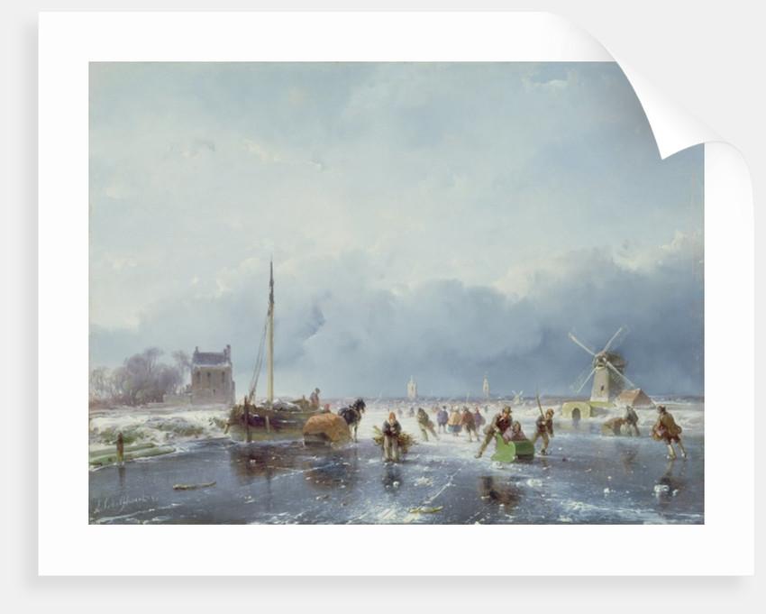 Frozen winter scene by Andreas Schelfhout