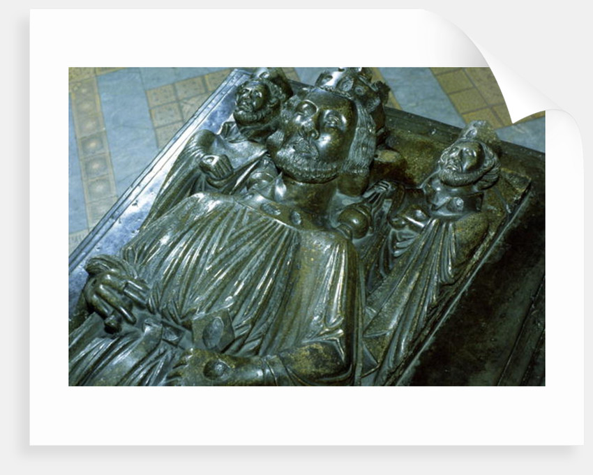 King John's Tomb with two miniature figures of St. Wulstan and St. Oswald by English School
