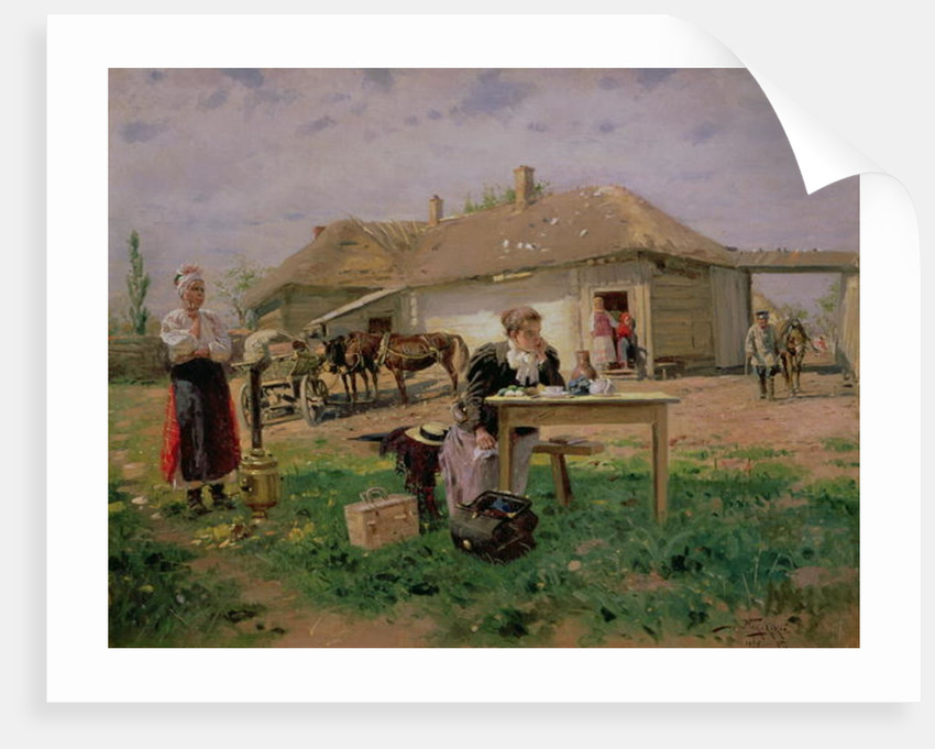Arrival of a School Mistress in the Countryside by Vladimir Egorovic Makovsky
