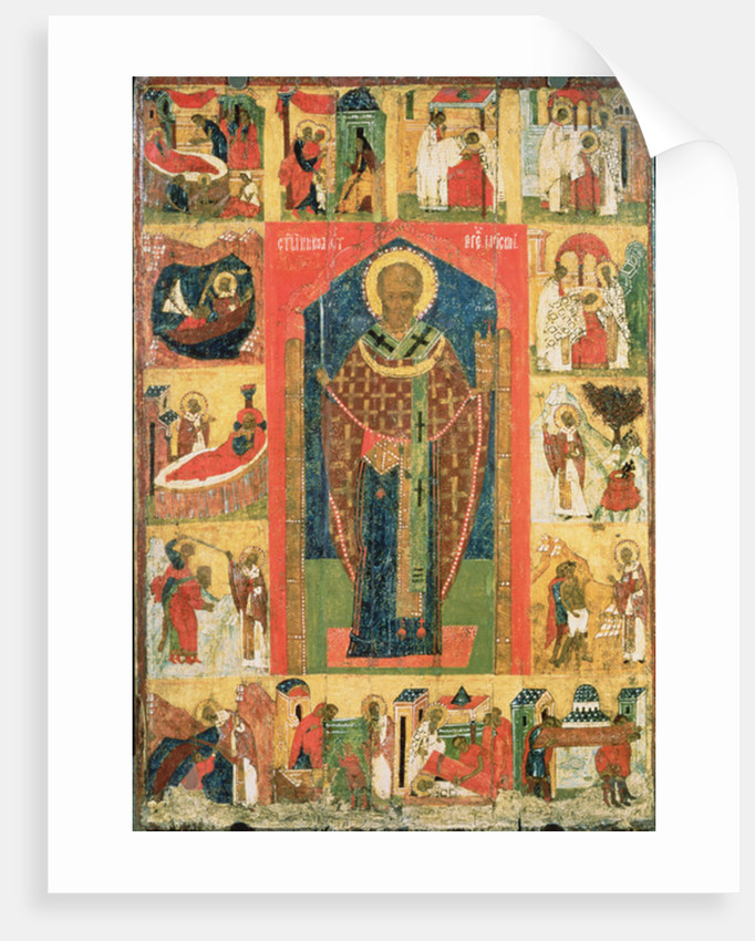 St. Nicholas of Moshajsk with scenes from his life by Russian School