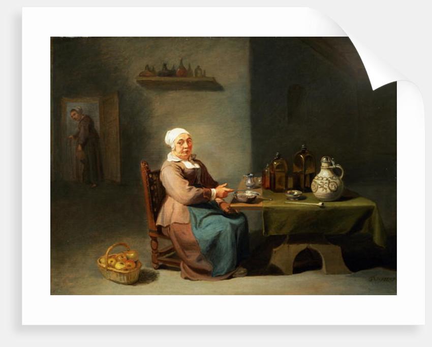 A Woman in a kitchen by Willem van the Elder Herp