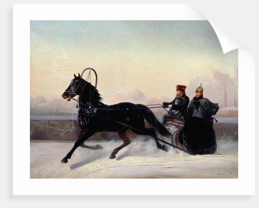 Emperor Nicholas I Driving in a Sleigh by Nikolai Egorevich Sverchkov