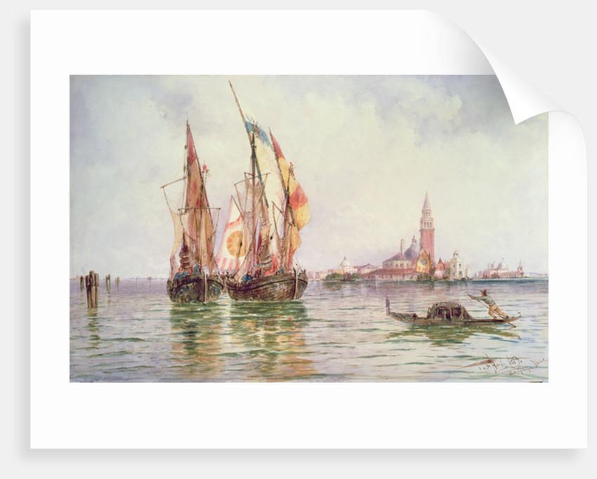 Fishing boats near San Giorgio Maggiore, Venice by Thomas Bush Hardy