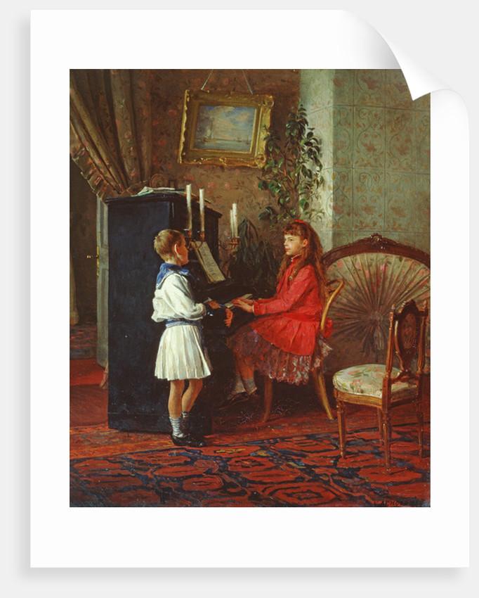 Children at the Piano by Kirill Vikentevich Lemokh