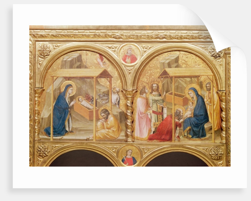 Section of an altar screen with the Nativity and the Adoration of the Magi by Anonymous