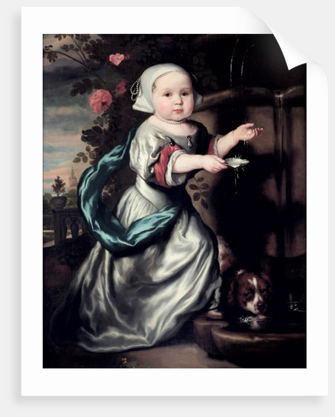 Young girl at a fountain by Nicolaes Maes