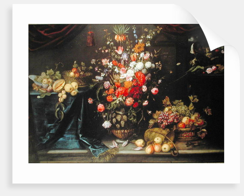 A still life of summer flowers in a sculpted urn by Frans Ykens