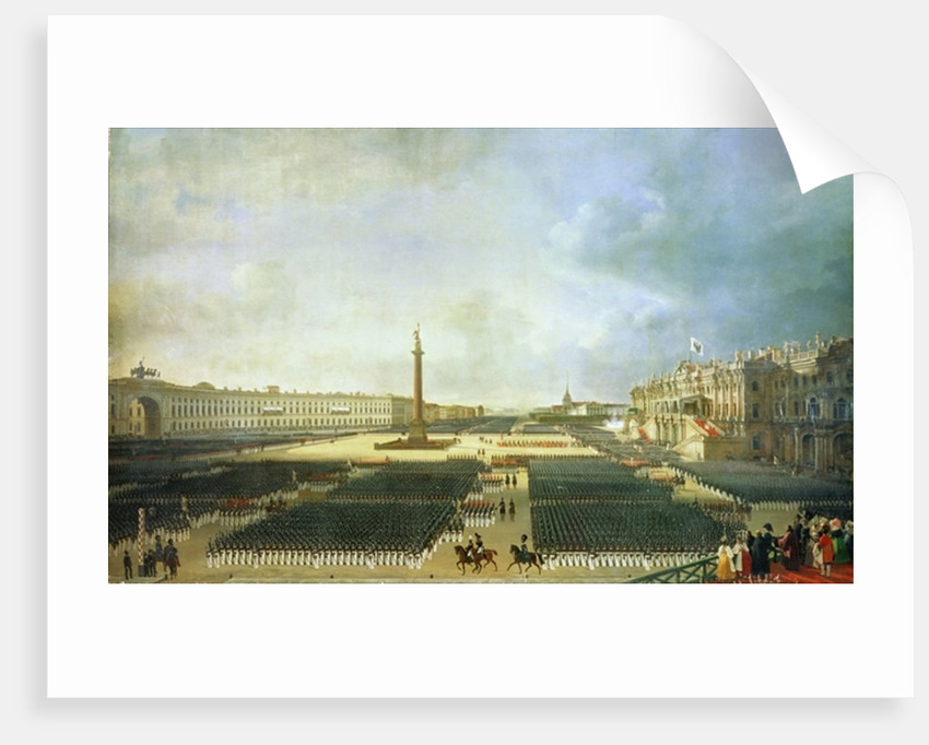 The Consecration of the Alexander Column in St. Petersburg on August 30th 1834 by Adolphe Ladurner