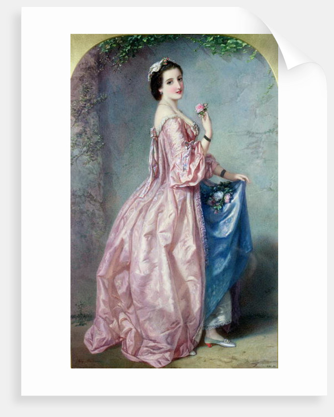 Lady holding Flowers in her Petticoat by Augustus Jules Bouvier