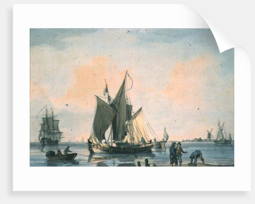 Coast Scene, with shipping and figures by William Anderson