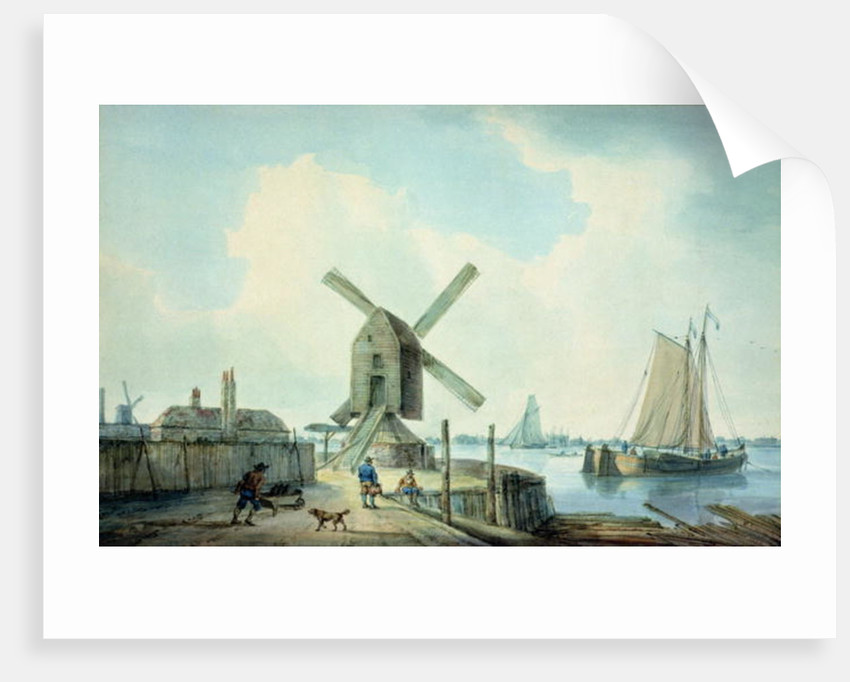 A Shore Scene with Windmills and Shipping by William Anderson