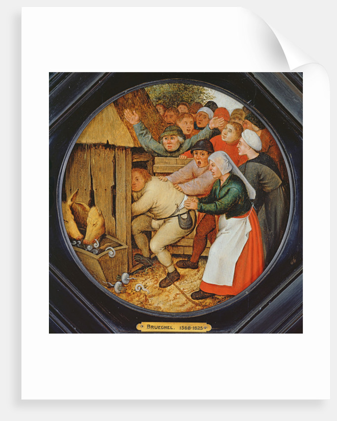 The Drunkard Pushed into the Pigsty by Pieter the Younger Brueghel