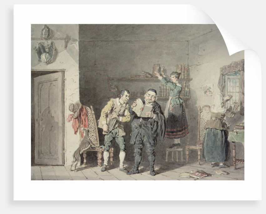 The Priest and the Barber, with Don Quixote's house-keeper and niece, purging the Don's library of Books of Chivalry by John Augustus Atkinson