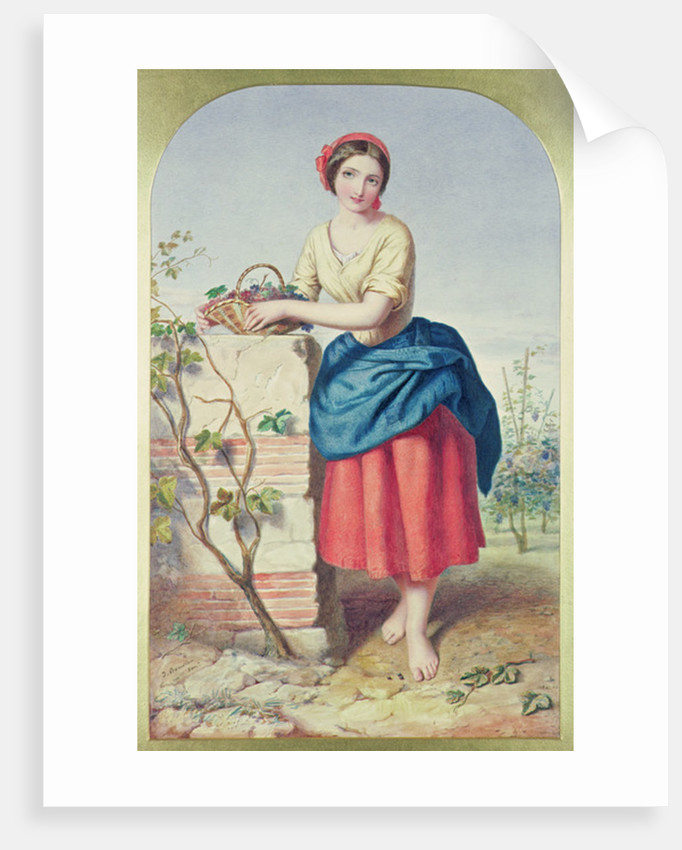 Girl with Basket of Grapes by Jules I Bouvier
