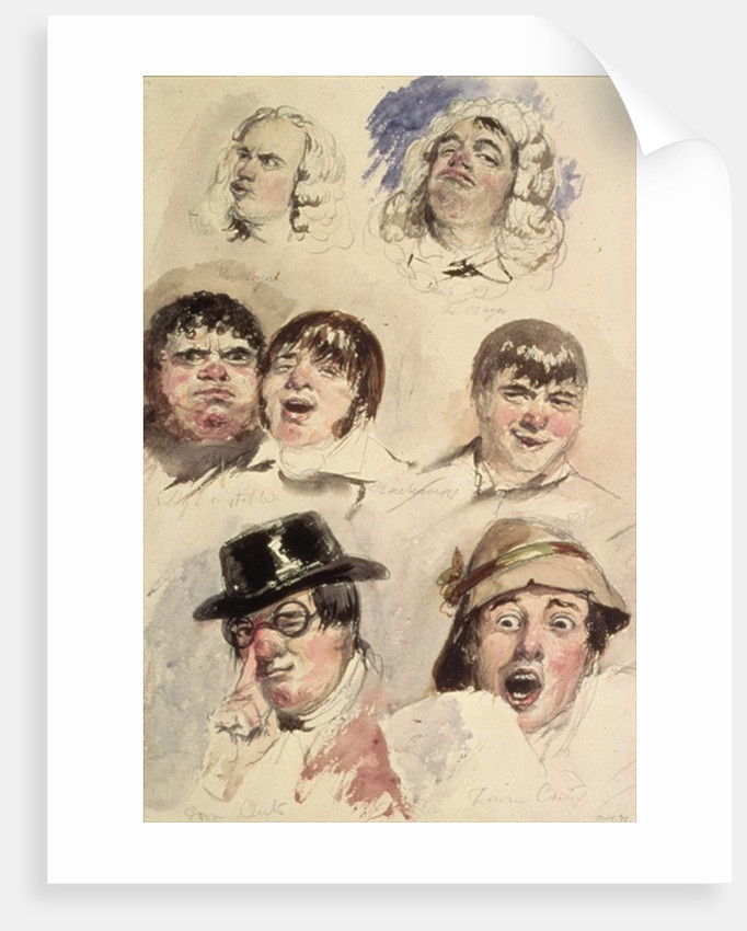 Sheet of Studies of Seven Heads by Robert William Buss