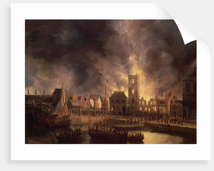 The Great Fire in the Old Town Hall, Amsterdam, 1652, 17th century by Jan Beerstraten