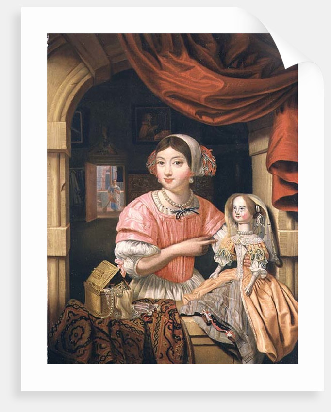 Girl holding a doll in an interior with a maid sweeping behind by Edwaert Colyer or Collier