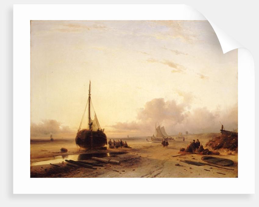 Beach Scene with Fishing Boats by Charles-Henri-Joseph Leickert