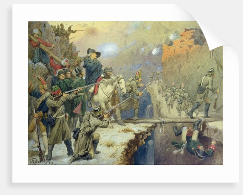 Suvorov crossing the Devil's Bridge by Aleksei Danilovich Kivshenko