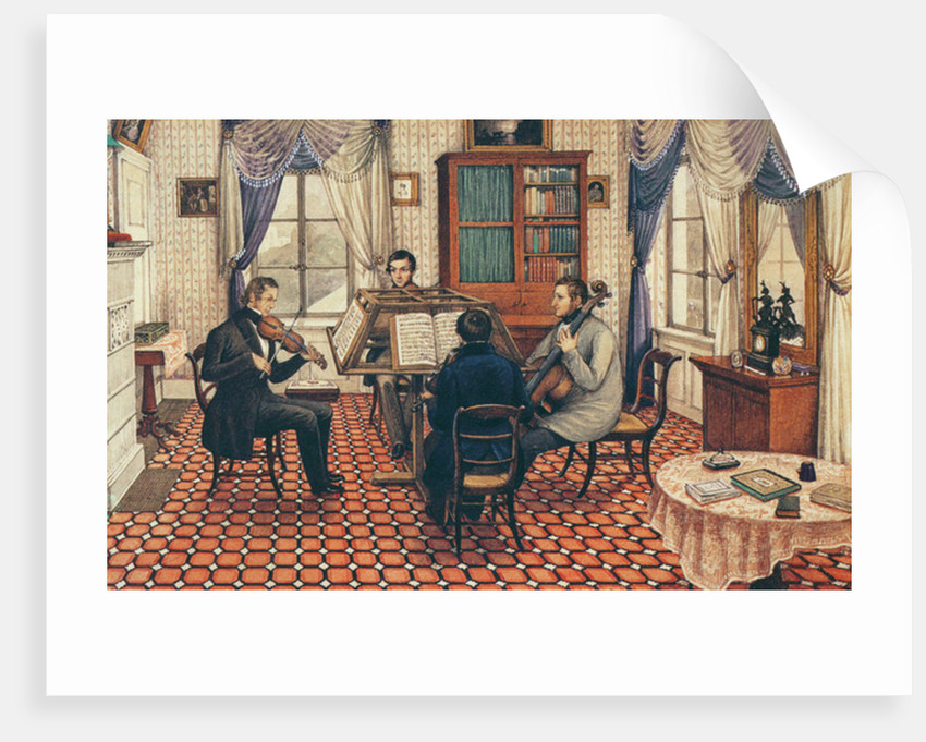 Anthony and Three Friends Playing a String Quartet by Mary Ellen Best