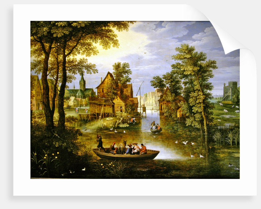 A river landscape with the Flight into Egypt by Marten Ryckaert