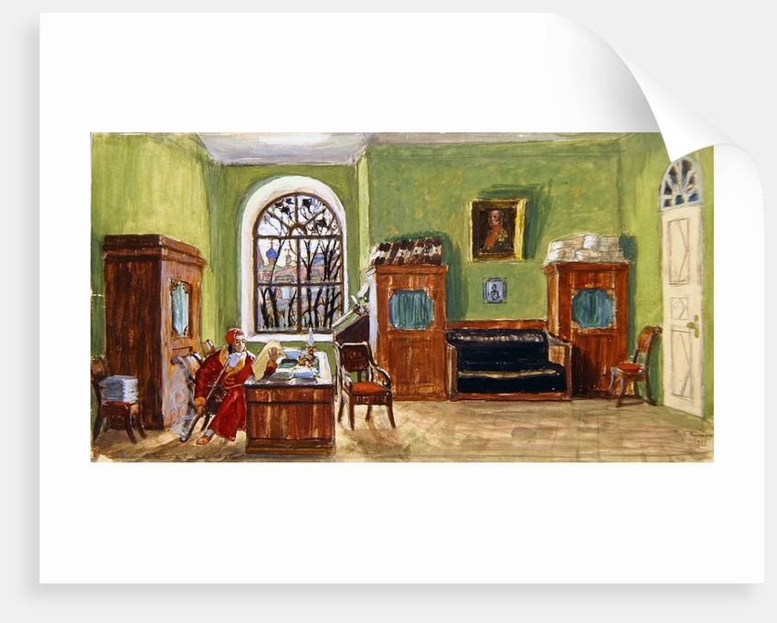 Stage design for the theatre play 'Pushkin's Death' by M. Saltykow-Schtschedrin by Boris Mikhailovich Kustodiev