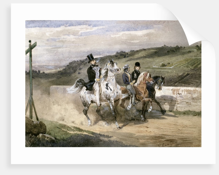 Horace Vernet and his Children Riding in the Country by Eugene-Louis Lami