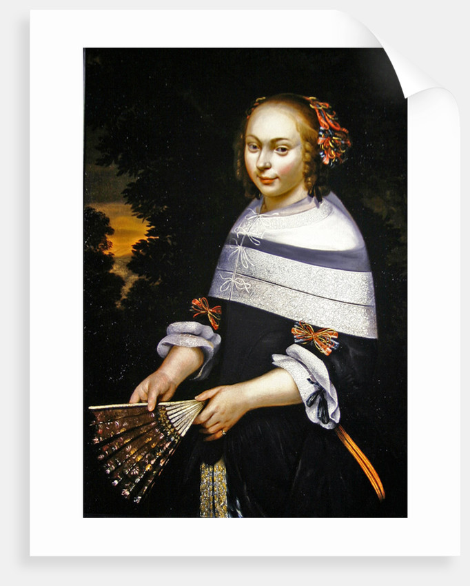 A portrait of a young girl holding a fan, a landscape beyond by Friesian School