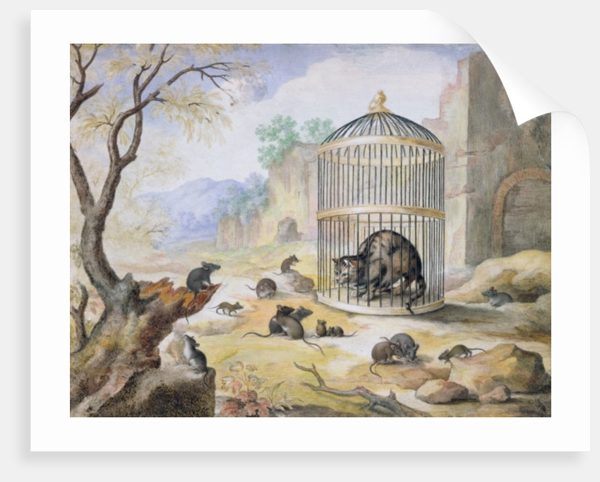 A Cat in a Cage by Gottfried Mind or Mindt