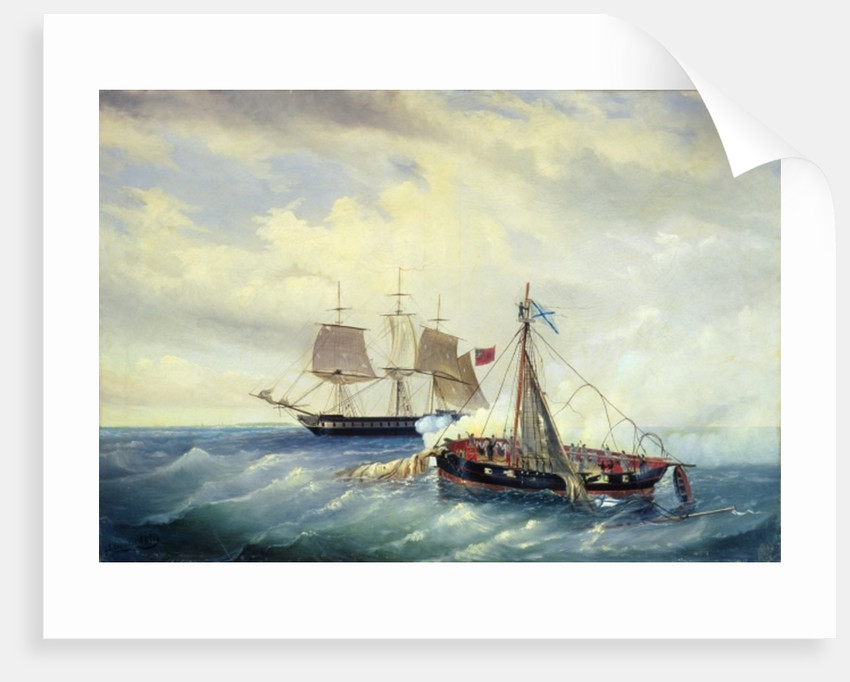 Battle between the Russian ship Opyt and a British frigate, off the coast of Nargen Island by Leonid Demyanovich Blinov