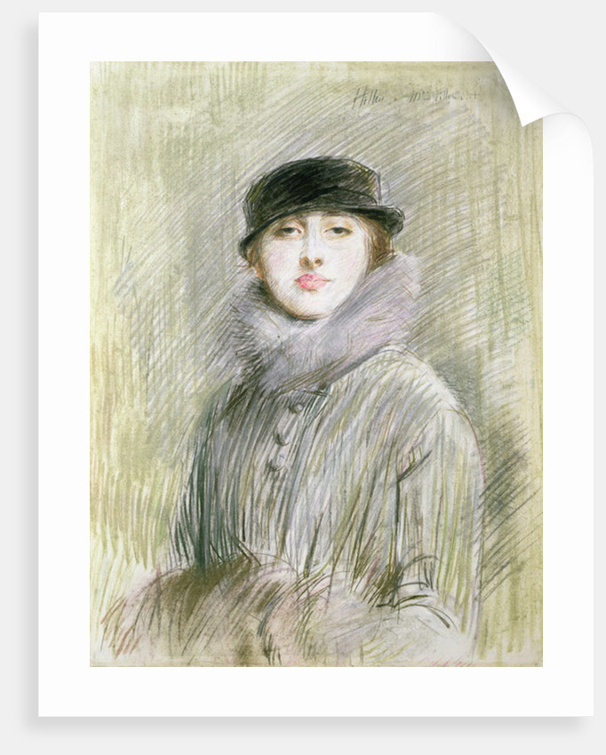 Portrait of a Lady with a Fur Collar and Muff by Paul Cesar Helleu