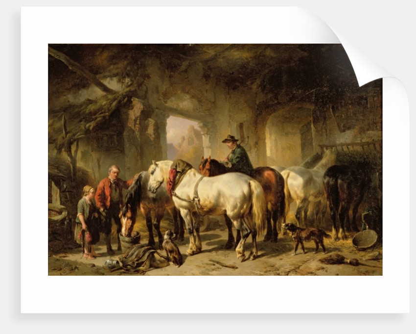 Horses Feeding in the Stable by Wouter Verschuur