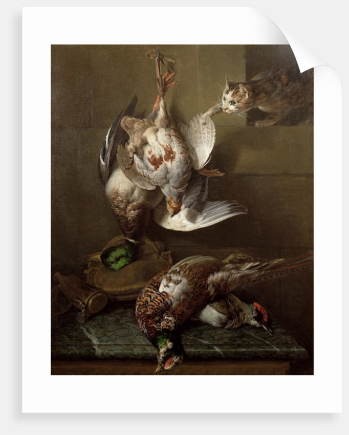 A Cat Attacking Dead Game by Alexandre-Francois Desportes