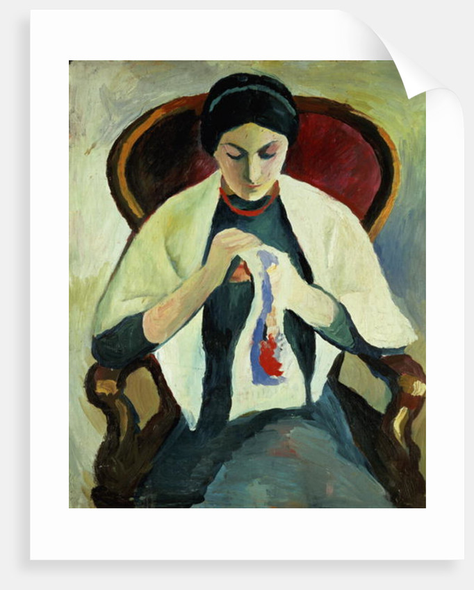 Woman Sewing by August Macke