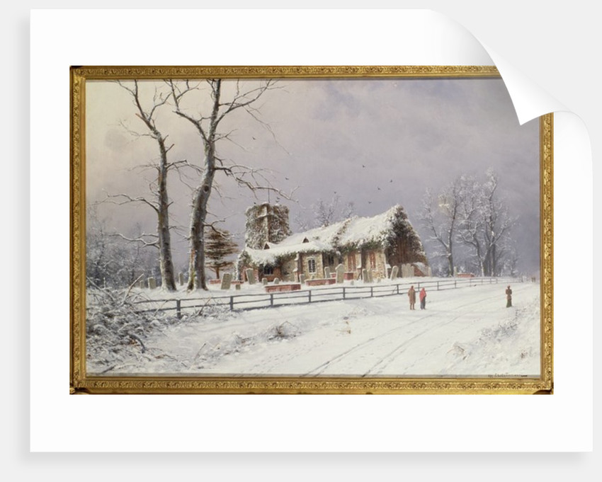 Winter Scene with Figures on a Path near a Church by Nils Hans Christiansen