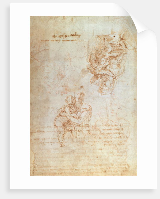 Studies of Madonna and Child by Michelangelo Buonarroti