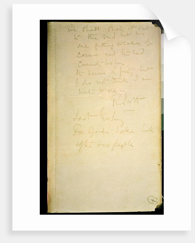 The last page of his diary, Antarctica, 29th March 1912 by Robert Falcon Scott