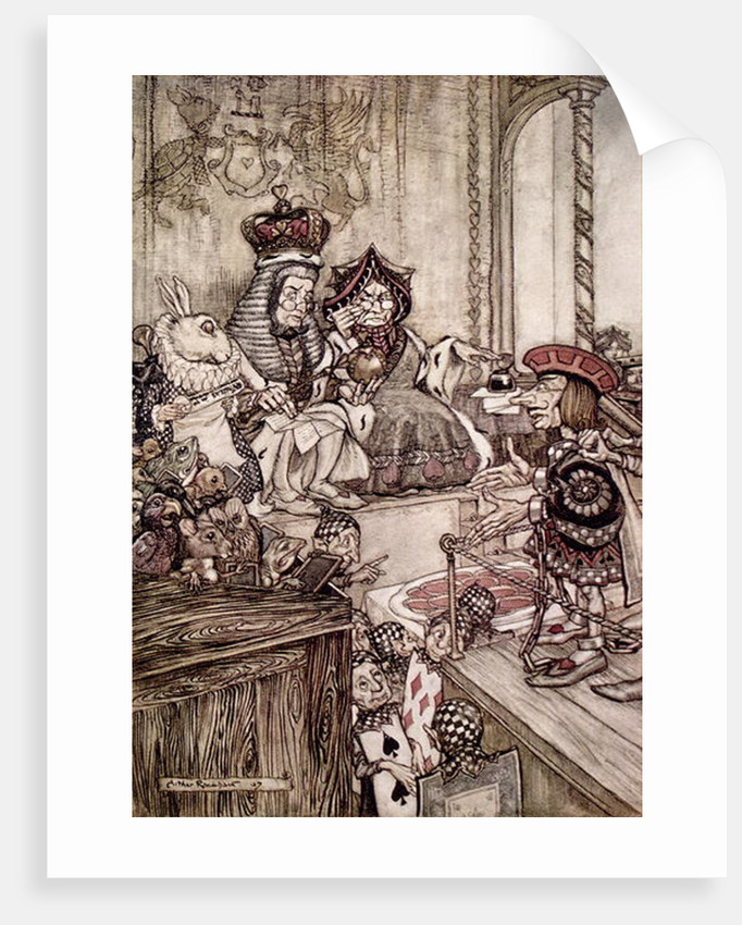 Knave before the King and Queen of Hearts by Arthur Rackham