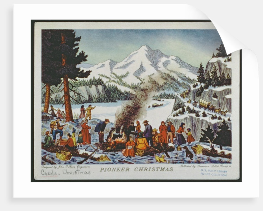 Christmas card depicting a Pioneer Christmas by American School