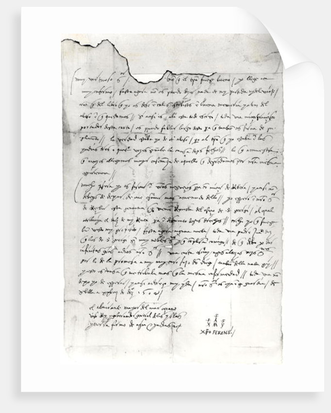 fragment of letter written by christopher columbus by unknown
